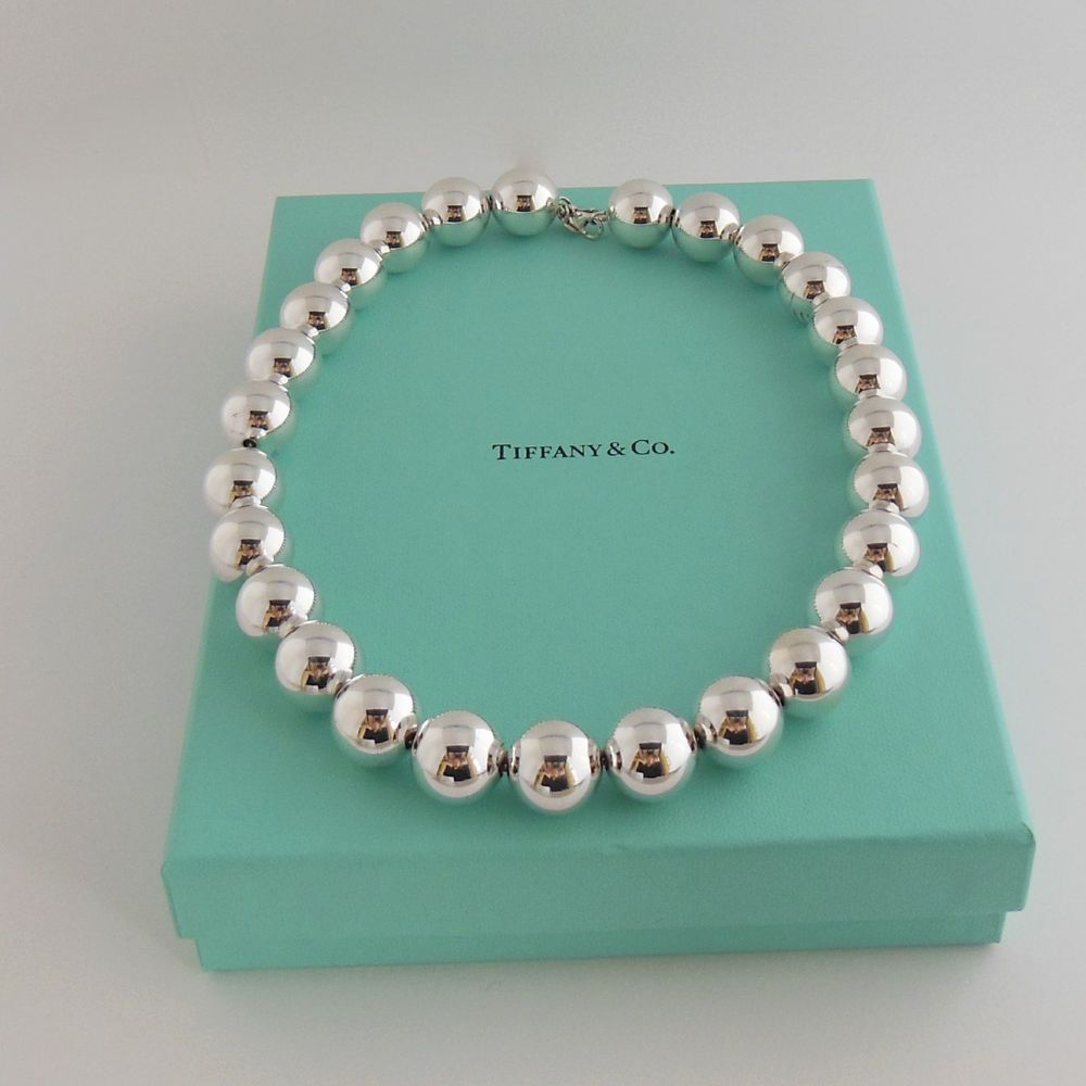 Tiffany Co Sterling Silver 16mm Tiffany Beads Necklace Retail 675 Bella Tutto 400 Sold Silver Bead Bracelet Silver Bead Necklace Tiffany Co