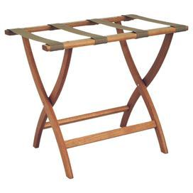 Foldable Oak Wood Luggage Rack With Four Woven Straps And Curved