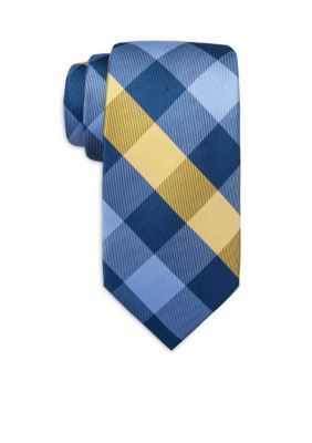 Saddlebred Yellow Sandbord Checked Tie