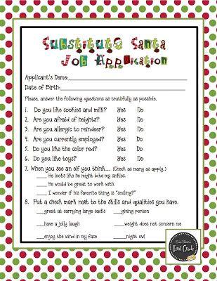Substitute Santa Job Application Common cores, Bulletin board and