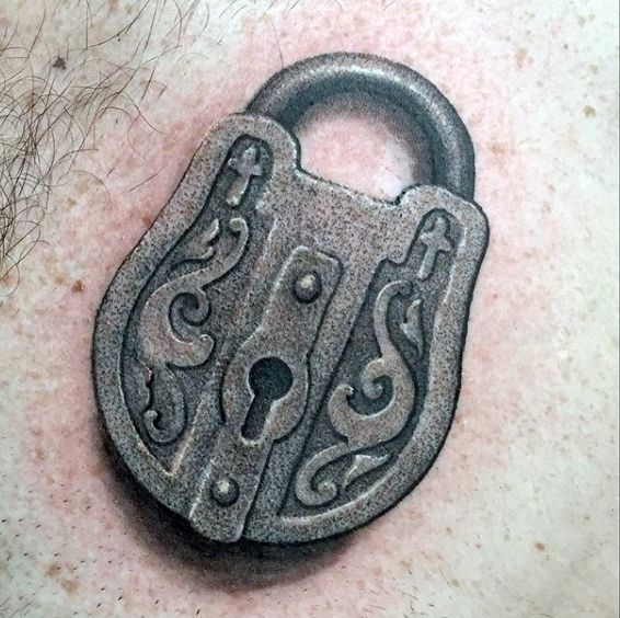 60 key tattoos for men unlock masculine design ideas for Lock and key decor