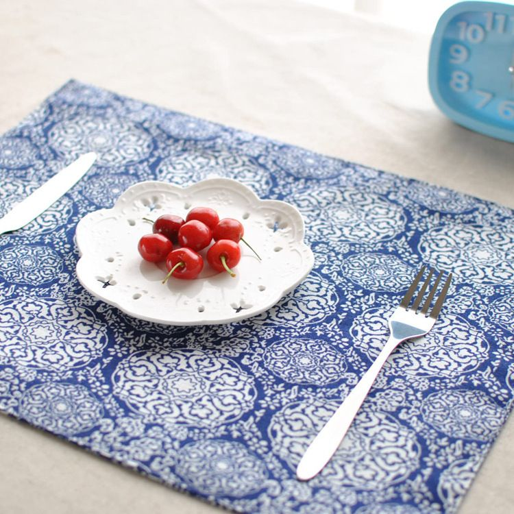 2015 New Coaster Rectangle Cotton Blue Placemat Tables Mats Japan Style Placemats For Dinner Coffee Table Placemats Dining Table In Kitchen Table Decorations