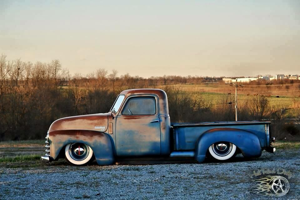 Ratrod Daily Driver Jalopy Chevy Advanced Design Short Bed Pickup Truck Slammed On The Ground Over Wide Chevy Trucks Classic Chevy Trucks Vintage Pickup Trucks