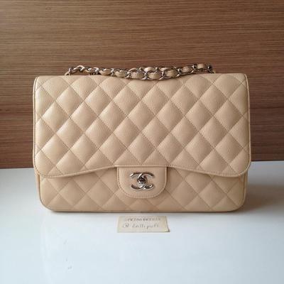 9c5aee83c7fe Chanel Light Beige Caviar Classic Jumbo Single Flap Bag | Lollipuff ...