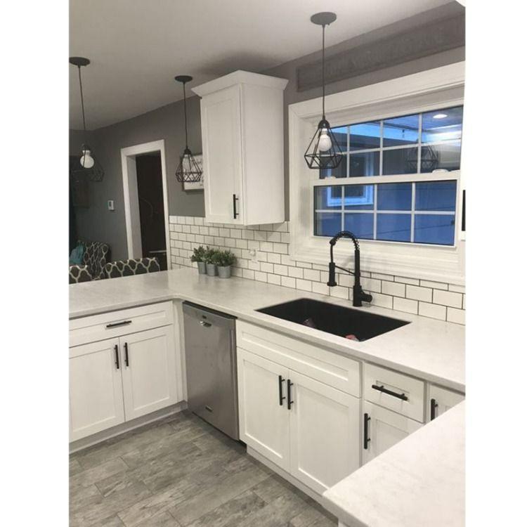 Download Wallpaper Handles On White Kitchen Cupboards
