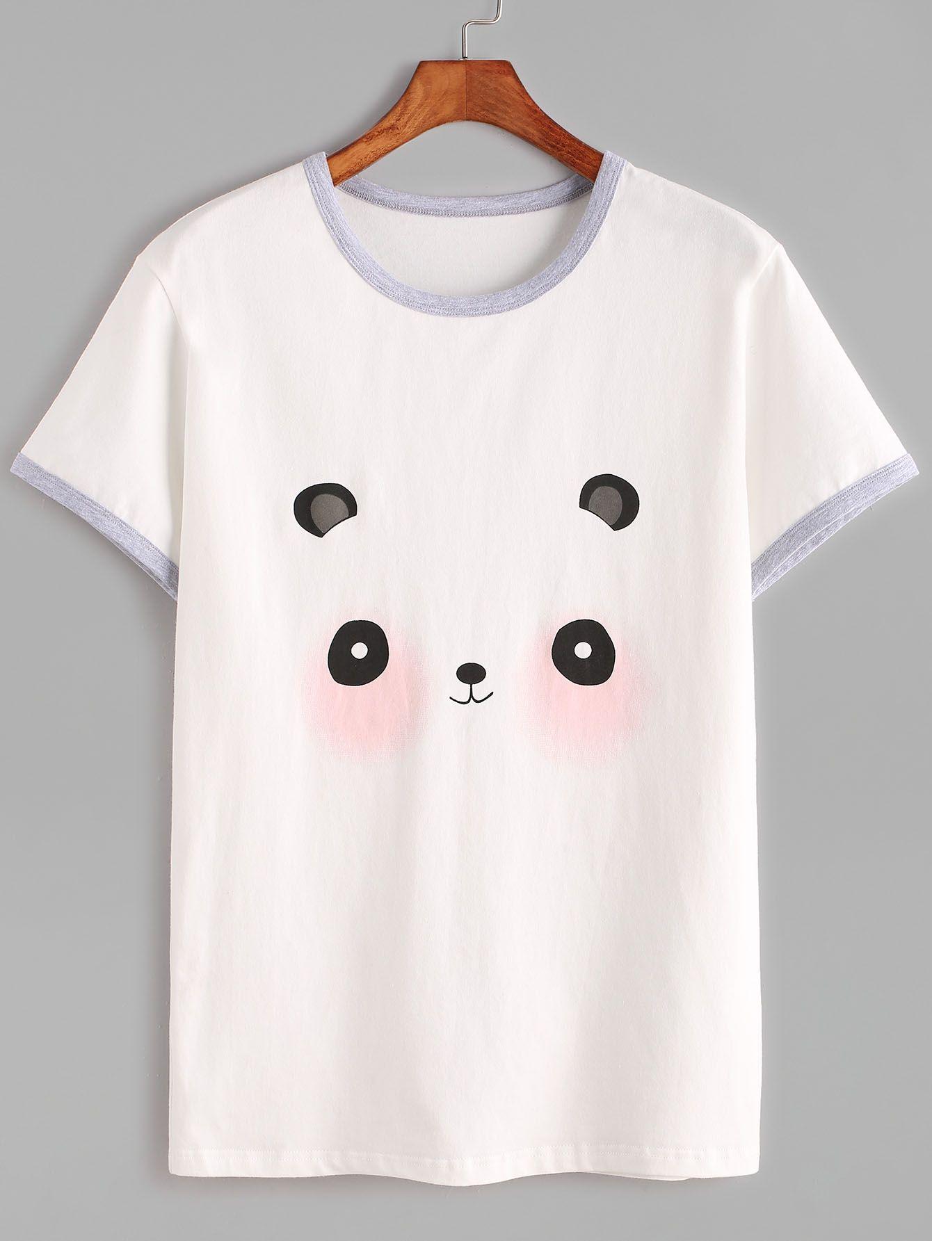 b7268692d6 Camiseta con estampado de panda-(Sheinside) | Camisas en 2019 ...