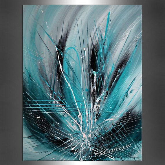Abstract LARGE Artwork paintings Teal Turquoise, Emerald ...