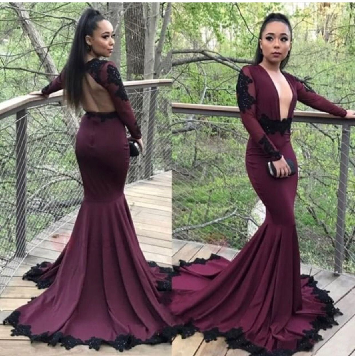 Long sleeves designer prom dress date night glam night