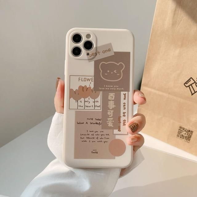 KAWAII BEAR PHONE CASE - for iphone XR / Brown