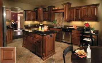 The ABC's of - honey oak cabinets with green walls. # ...