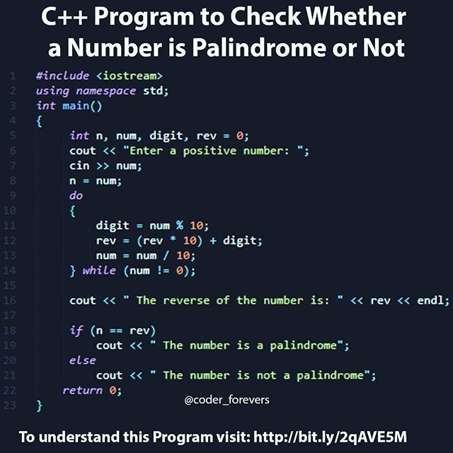 Program To Check Whether A Number Is Palindrome Or Not And