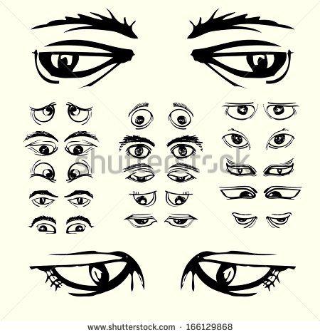set of eyes black white cartoon hand draw
