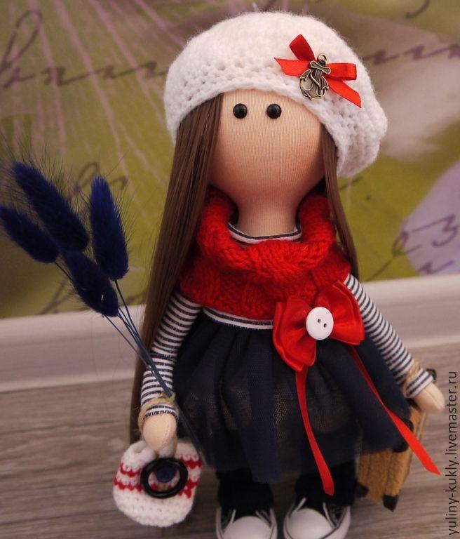 Купить Текстильная куколка-малышка Саша - темно-синий, кукла текстильная, кукла ручной работы