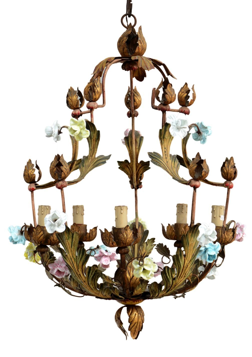 Antique italian gold painted 5 light chandelier with capodimonte italian chandeliers arubaitofo Choice Image