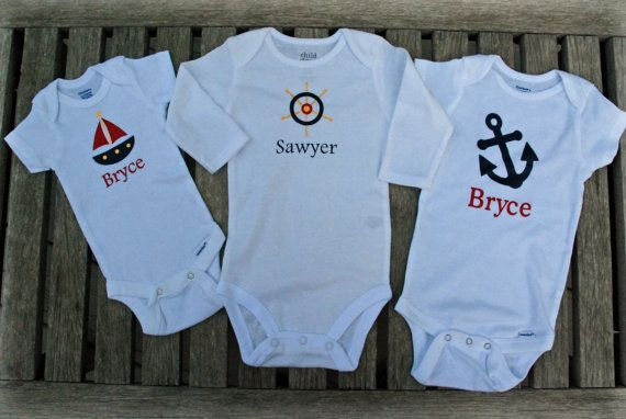 Check out this item in my Etsy shop https://www.etsy.com/listing/196291298/personalized-nautical-onesies-set-anchor