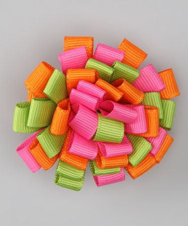 Take a look at this Orange & Pink Loopy Hair Bow by Pippytoes on #zulily today!