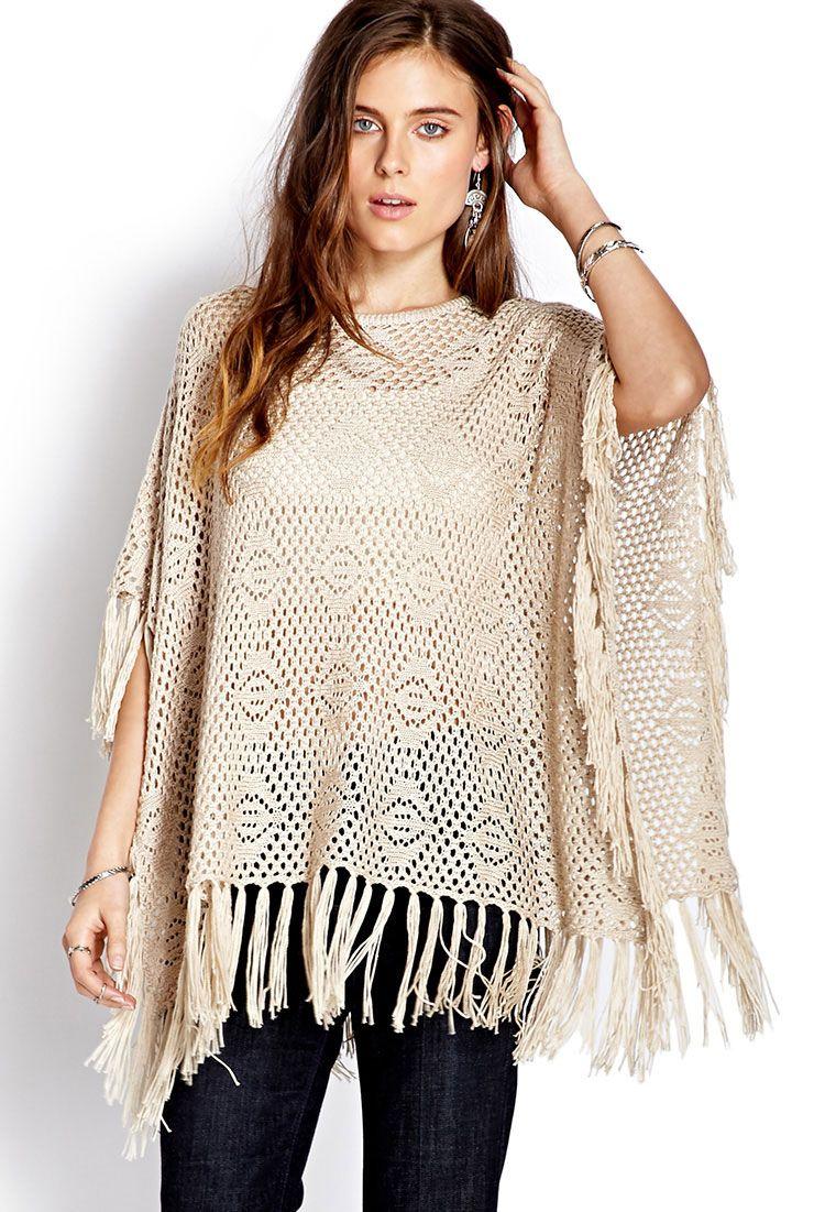 Free Spirit Fringed Poncho | Forever 21 | Crochet | Pinterest ...