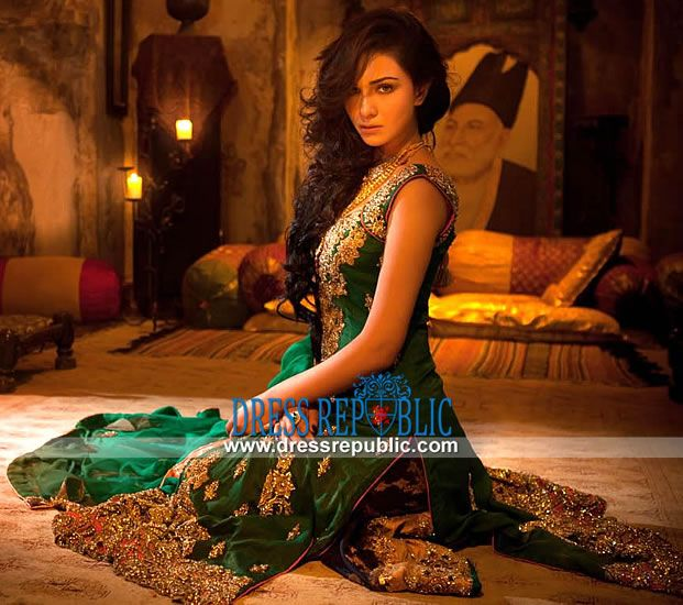 Henna Mehndi Shalwar Kameez Uk London : Emerald green nickie nina dress with cobalt blue sharara