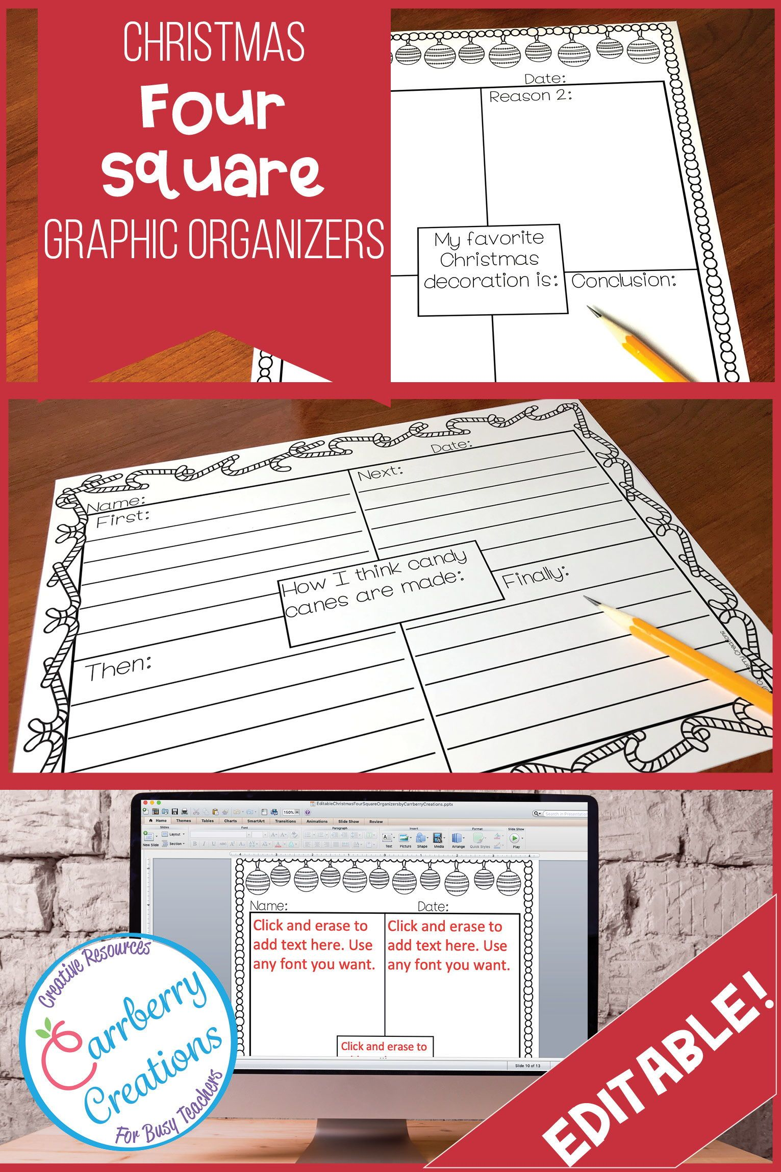 These Christmas Writing Four Square Graphic Organizers Are Simple To Use It Comes With Pre Filled Prompts And Editable Pages Make Lesson
