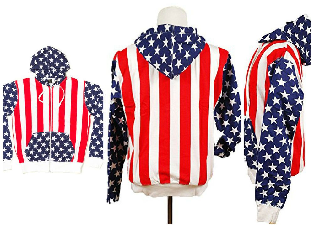 U S A Flag Jackets With Hoodie Light Weight Star Sleeves Red White And Blue Carhartt Jacket Cotton Coat Carhartt