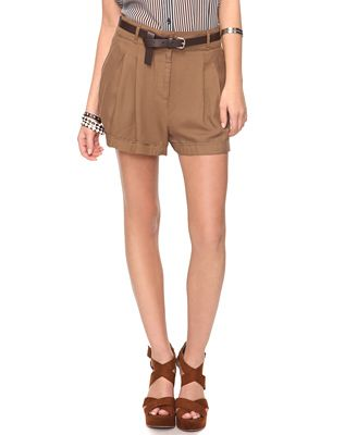 Pleated cuffed shorts with belt - Forever 21