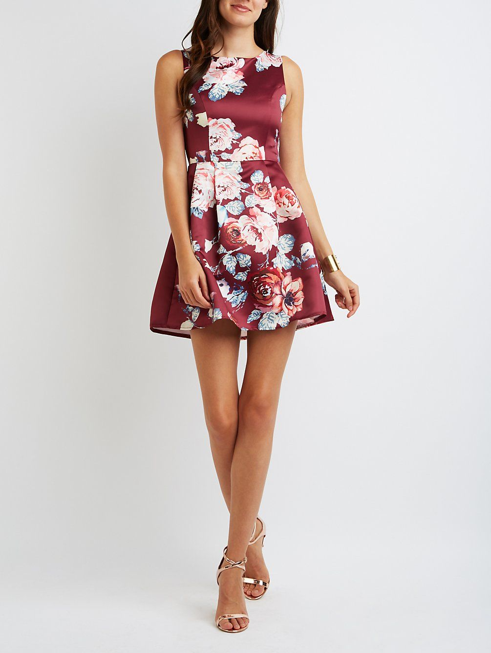 Floral Pleated Skater Dress | Charlotte Russe
