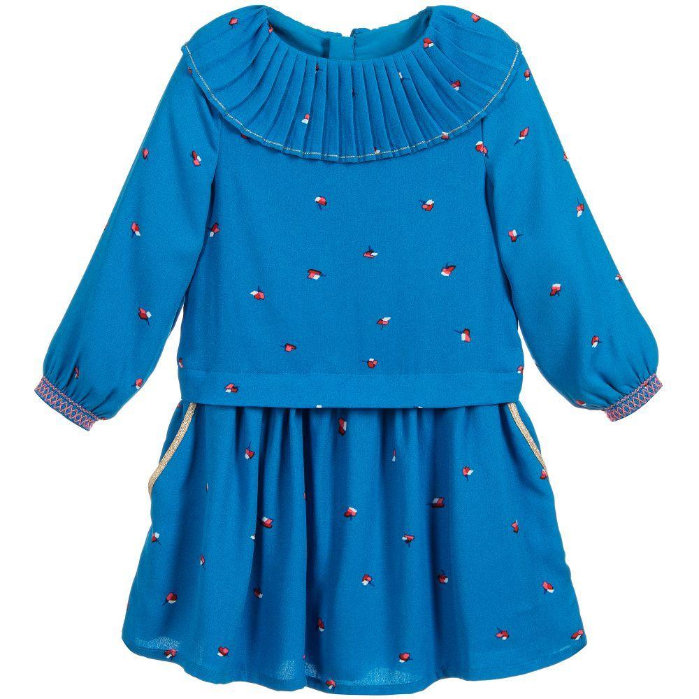 Girls blue crêpe dress luc drop off gifts pinterest kids