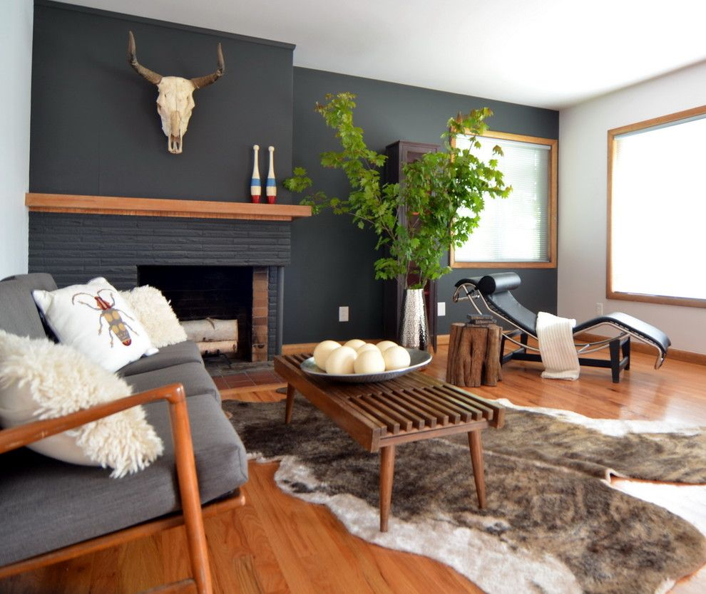 Gray With Blue Accent Wall Fireplace: Paint The One Wall And Bricks A Dark Color With Some Warm