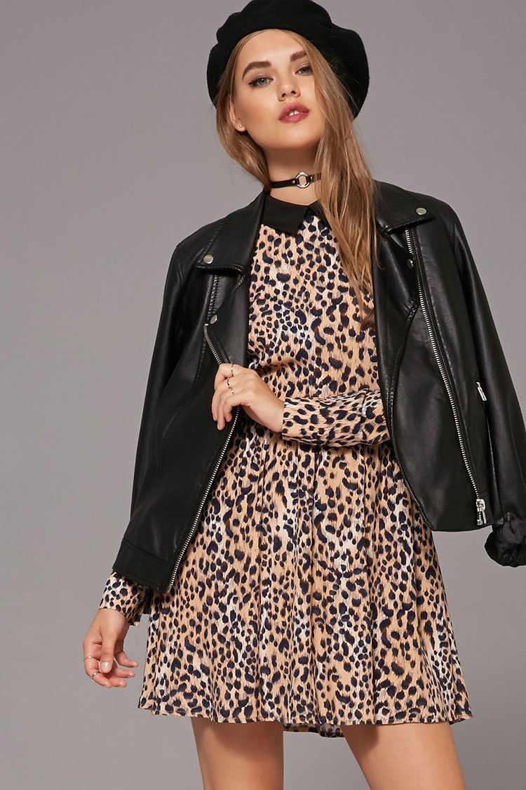 Collared Leopard Print Dress - Dresses - 2000213388 - Forever 21 ...