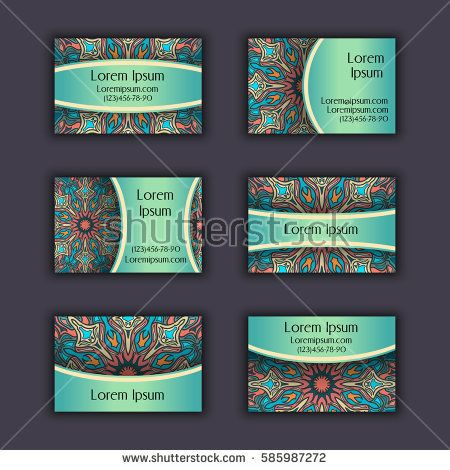 Vector Business card Design Template with Ornamental geometric mandala pattern. Vintage decorative elements. Hand drawn tile background. Islam, Arabic, Indian, ottoman motifs.