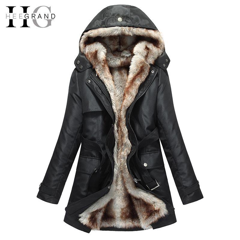 Hee grand femmes de base vestes d hiver manteaux en fausse fourrure femme  chaud Parka Capot Manteau Plus Taille S 3 XL Oversize 2 Pièces Ensembles  WWM056 ... 86e2238952f