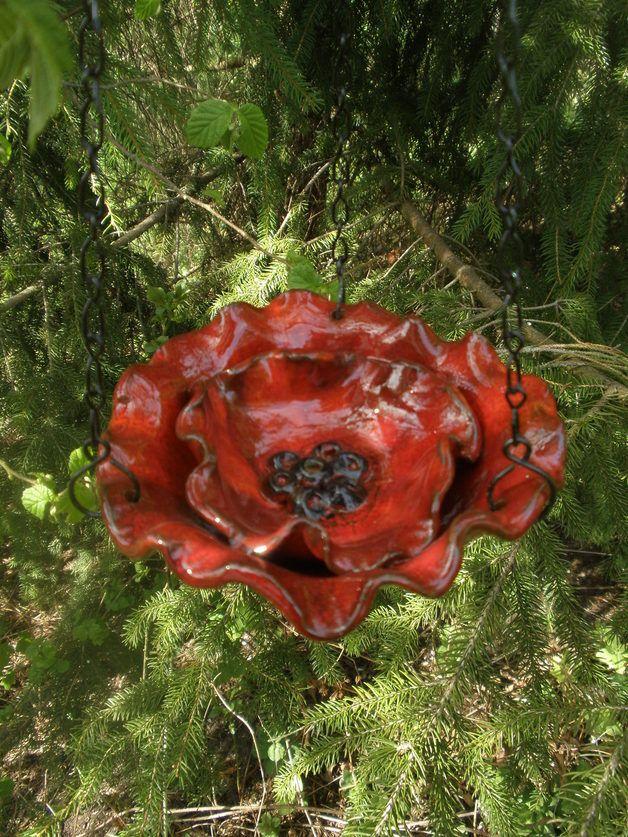 Vogeltranke Mohnblume Zum Aufhangen Keramik Blumen Tonblumen Mosaik Gartenkunst