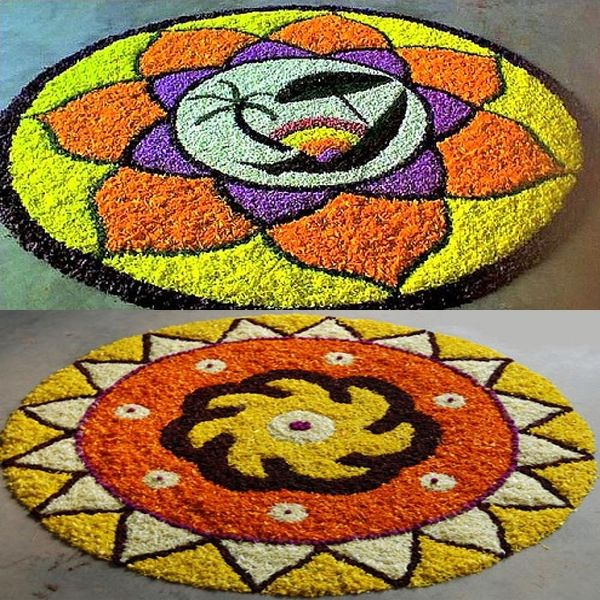 5 Simple Athapookalam Designs with Images   Flower rangoli ...