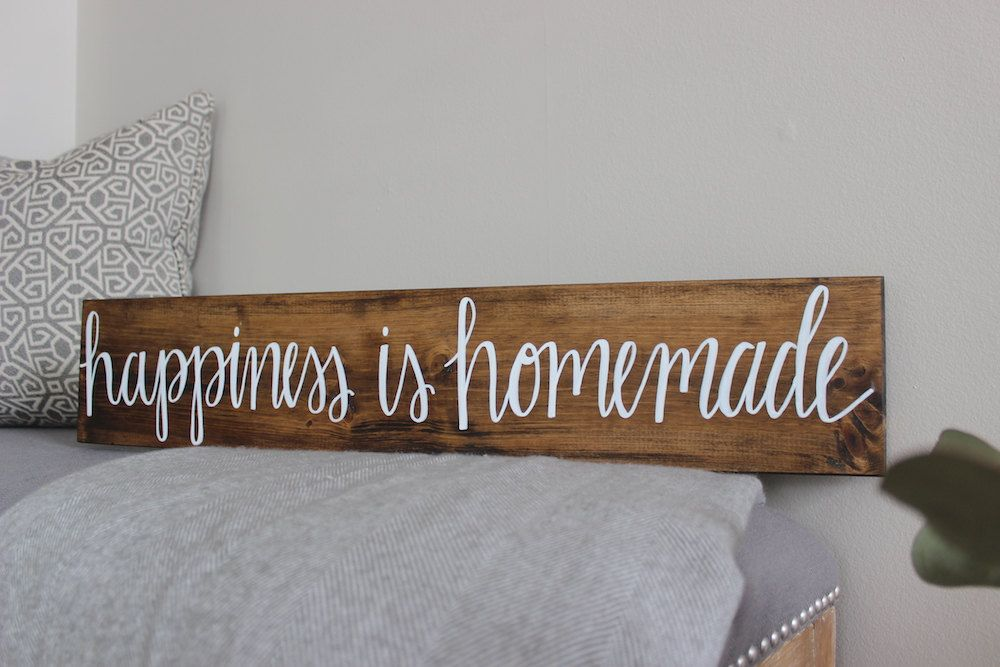 Wood Signs Home Decor Happiness Is Homemade  Wood Sign  Home Decor  Rustic Sign