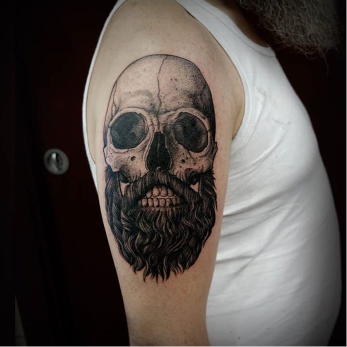 Dark Surrealistic Head Tattoos by Oked | Bearded skull tattoo