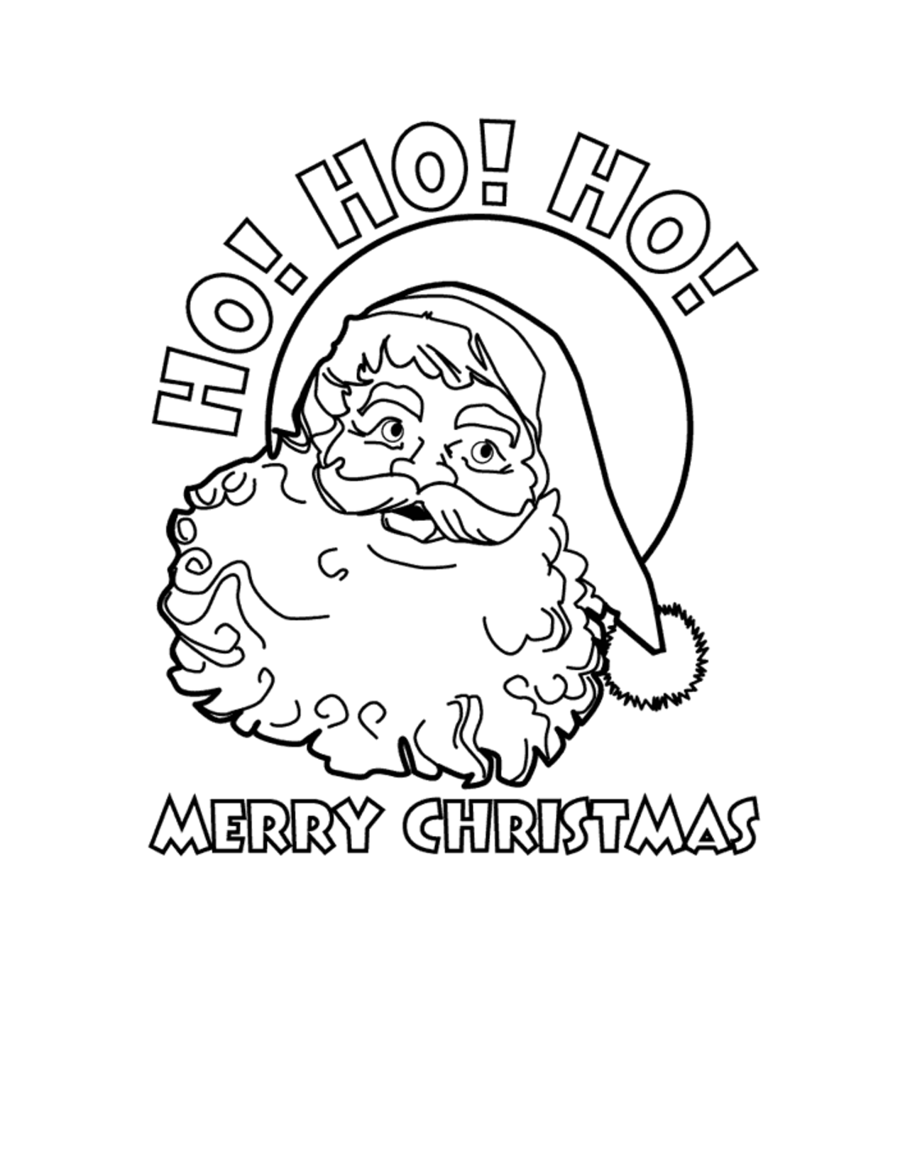 Free printables christmas coloring pages - Merry Christmas Printable Coloring Pages Ho Ho Ho Merry Christmas Santa Free Printable Coloring Sheet
