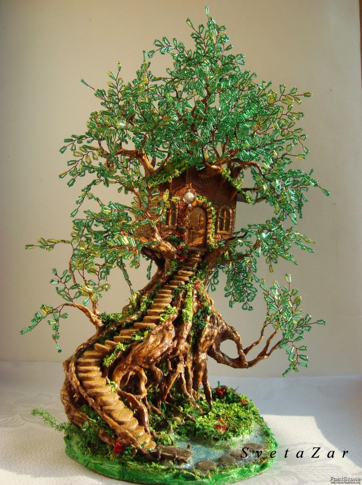 Водопад своими руками с деревом из бисера