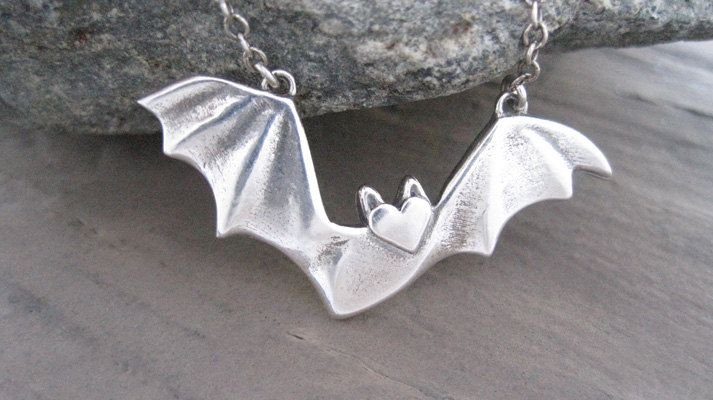 Sterling Silver Flying Bat Charm on a Delicate Sterling Silver Cable Chain or Charm Only Silver Flying Bat Necklace