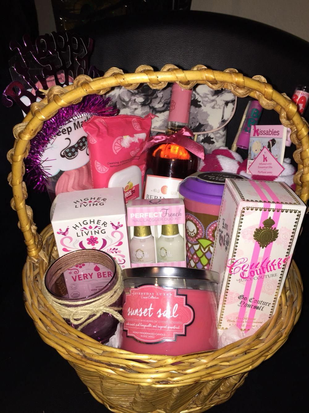 Gift Basket I Made For My Friends Twenty First Birthday Wine Plenty Of Other Goodies A Relaxing Weekend Yogapants