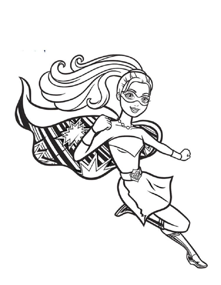Barbie Superhero Coloring Pages Buku Mewarnai Gambar Warna