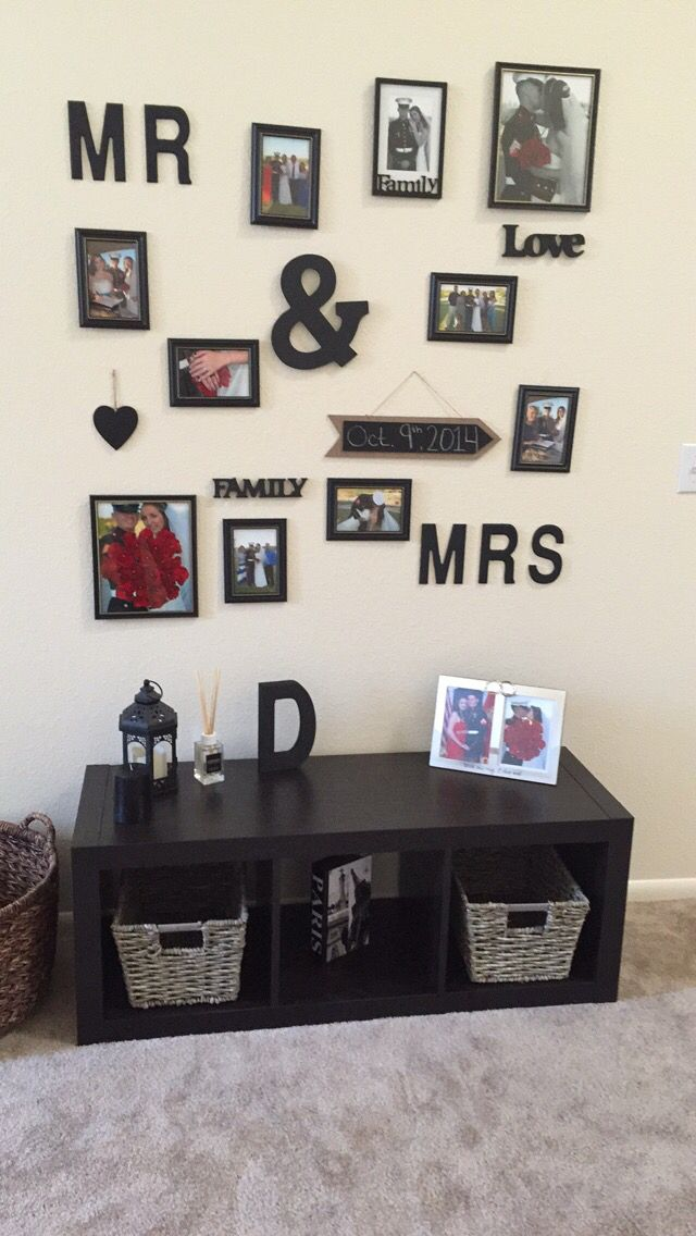 Dollar store picture frames, michaels letters, Walmart bench, and ...