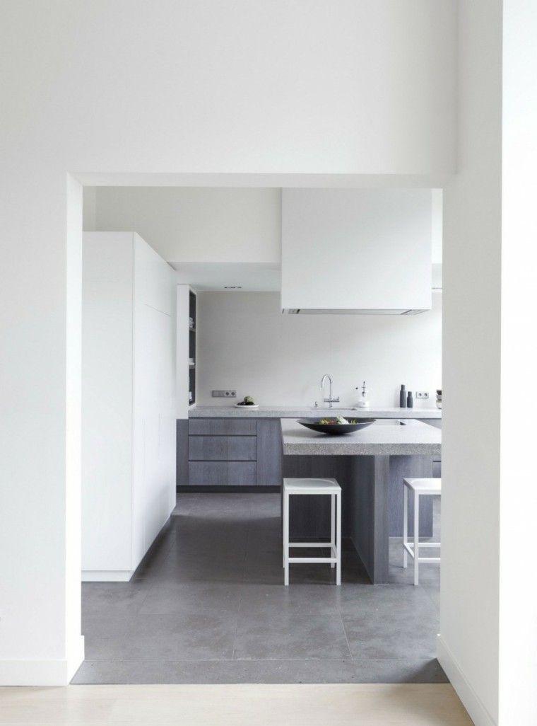 Decoración de interiores modernos en gris y blanco | Suelo gris ...