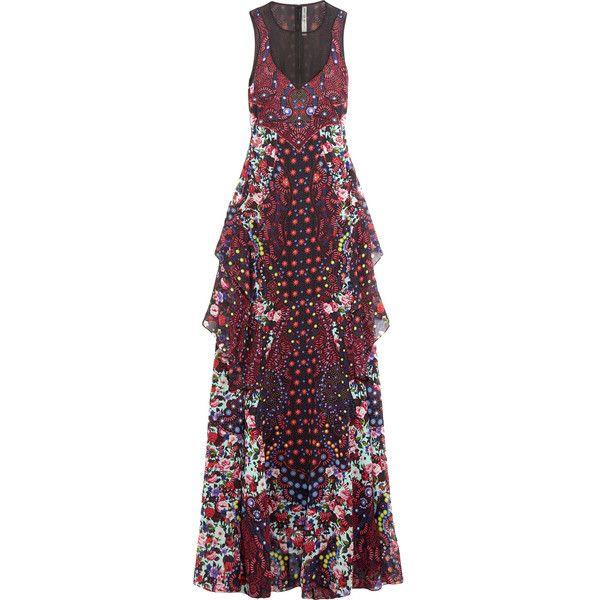Mary Katrantzou Macarthur ruffled printed silk-chiffon maxi dress ($4,295) ❤ liked on Polyvore featuring dresses, digital print dress, silk chiffon dress, multi colored dress, multicolored dress and mary katrantzou dress