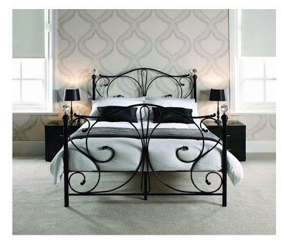 Florence Victorian Style Black Metal Bed Frame Black