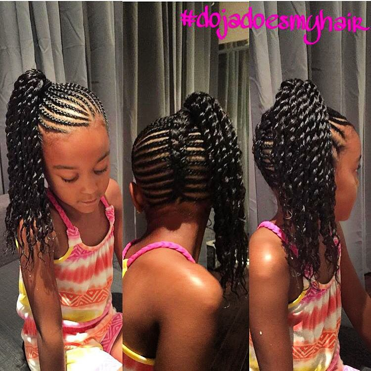Beautiful Braided Style Fishtail Braid Up The Back And Braided Side Ponytail With Two St Cornrow Styles For Girls Kids Braided Hairstyles Side Braid Ponytail