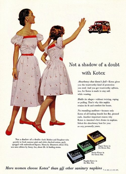"""""""Mother and Daughter Take Prettily"""" to matching dresses and Kotex!  - Good Housekeeping, May 1953."""