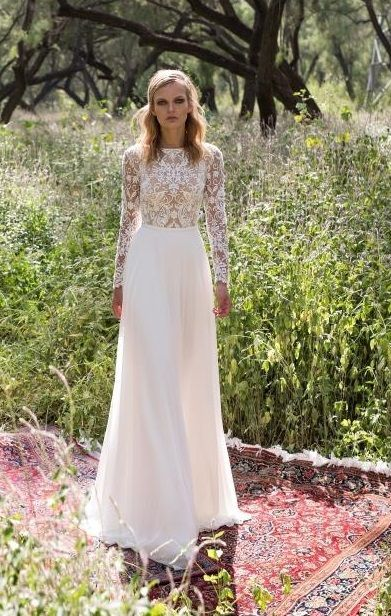 Kylie Limor Rosen Long Sleeve Wedding Dress With Lace Top And Straight Bottom