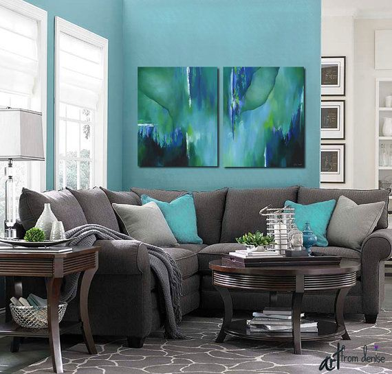 Abstract Painting Canvas Art Print Teal Turquoise Aqua Etsy Teal Living Rooms Living Room Color Schemes Living Room Grey #teal #black #and #white #living #room #ideas