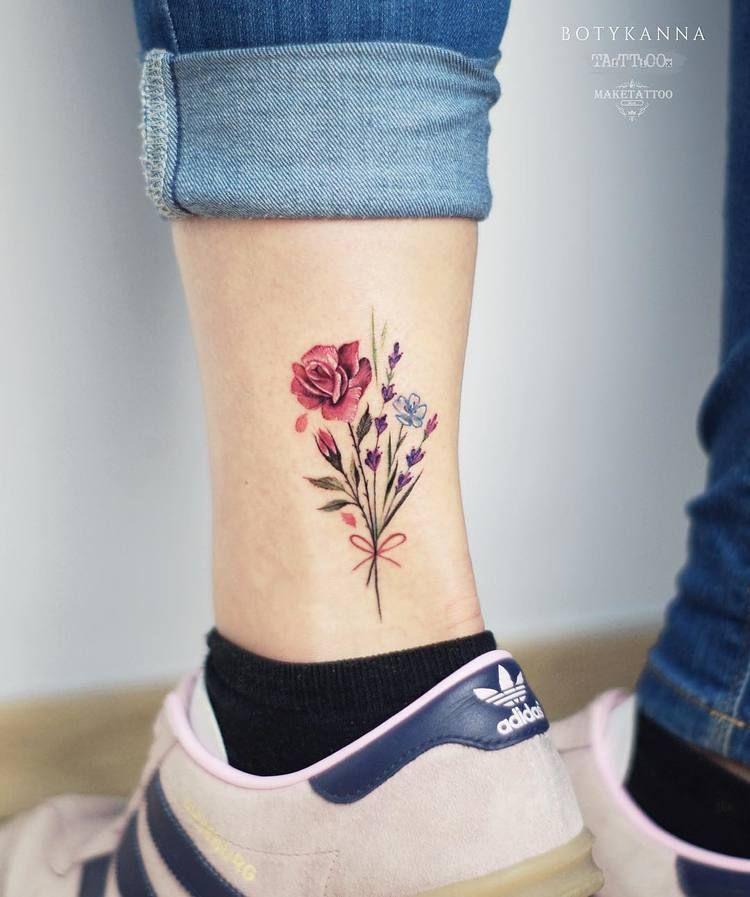 24 Gorgeous Botanical Tattoos By Anna Botyk Tattooadore Bouquet Tattoo Ankle Tattoo Foot Tattoos