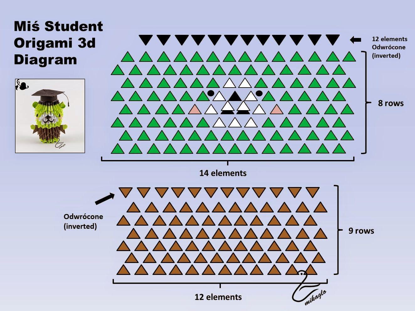 hight resolution of 3d origami bear tutorial